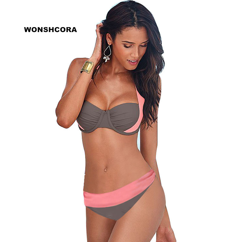 WONSHCORA <font><b>2017</b></font> <font><b>New</b></font> <font><b>Sexy</b></font> <font><b>Bikinis</b></font> <font><b>Women</b></font> <font><b>Swimsuit</b></font> <font><b>High</b></font> <font><b>Waisted</b></font> Bathing Suits Swim Halter Push Up <font><b>Bikini</b></font> Set Plus Size Swimwear image
