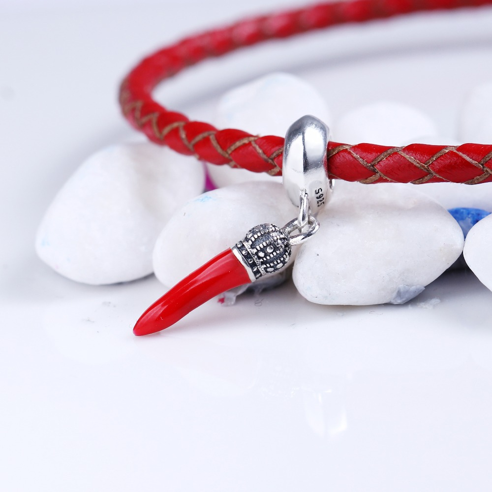 100% 925 Sterling Silver Fit Original Pandora Bracelet Red Enamel Corno Pendant Charm DIY Charms Beads for Jewelry Making Gift