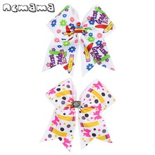 ncmama BACK TO SCHOOL 7 Inch Pencil Print Cheer Bows for Girls Hair Bow with Clips Cartoon Floral Bowknot Hairpins Kids Headwear