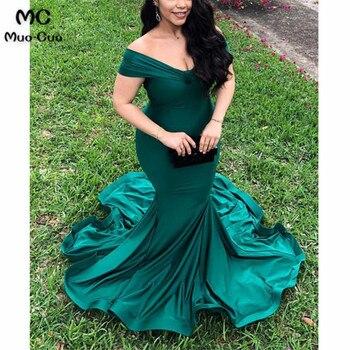 Teal 2018 Mermaid Evening Dresses Short Sleeve Elastic Satin Zipper Off Shoulder Prom Gown Formal Evening Dress