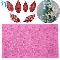 Large Size Fantasy Flower Petal And Leaves Cake Silicone Mat Wedding Fondant Silicone Lace Mold Lace