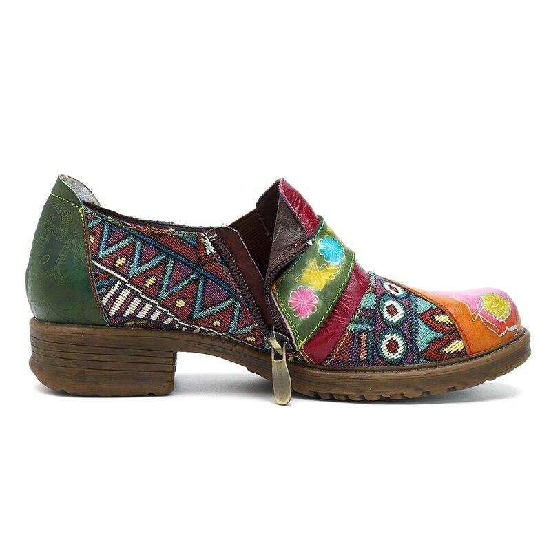 Mstacchi Chaussures Rétro Jaune Jacquard Femme Plat Véritable Casual Cuir Côté Zip Femmes Patchwork Bohème Dames 2019 Vintage Appartements SwxvqASOr