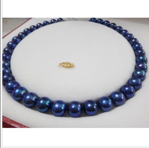 stunning9-10mm tahitian black blue pearl necklace 18inch цена и фото