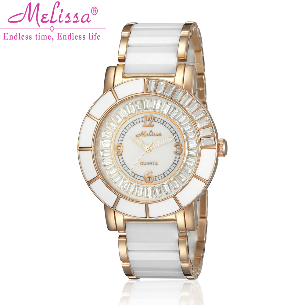 Lady Women's Watch Japan Quartz Hour Fashion Dress Bracelet Ceramic Crystal Luxury Girl Birthday Valentine Gift Melissa Box fashion modern silver crystal flower quartz pocket watch necklace pendant women lady girl birthday gift relogio de bolso antigo