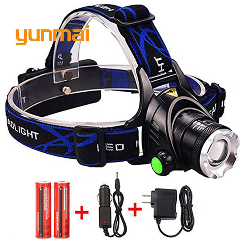 High Power XML T6 XM-L2 LED Headlamp Headlight Caming Hunting Head Light Lamp 4 Modes Rechargeable AC/EU Charger 18650 Battery 2 in 1 waterproof headlamp headlight xml t6 outdoor sports head lamp front bikelight& 4 18650 battery pack worked charger