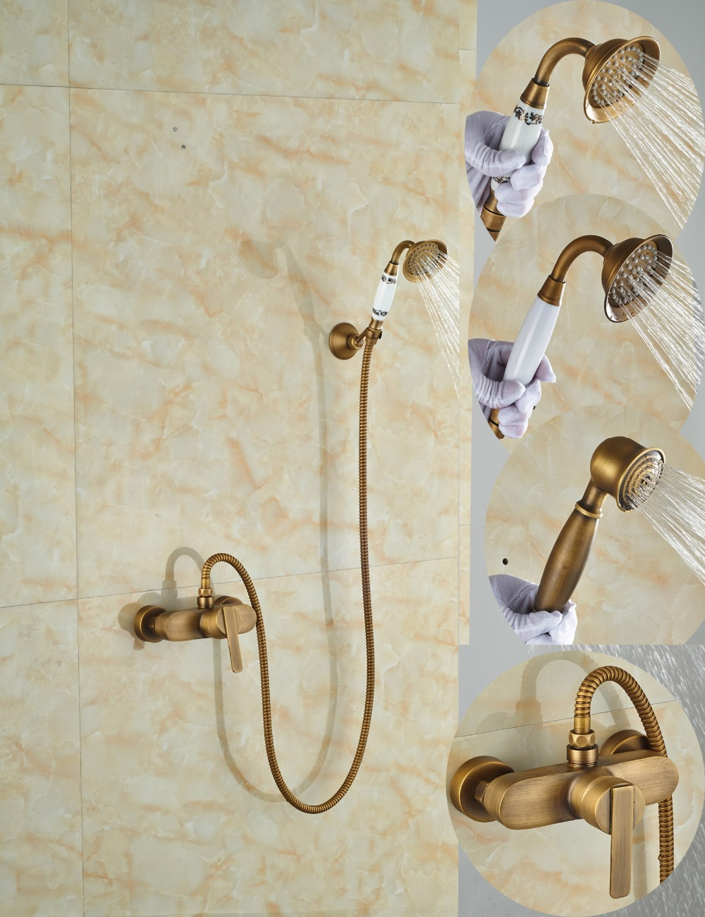 Wholesale And Retail Single Handle Wall Mounted Antique Brass Bathroom Tub Faucet W/ Handheld Shower Mixer Tap free shipping polished chrome finish new wall mounted waterfall bathroom bathtub handheld shower tap mixer faucet yt 5333