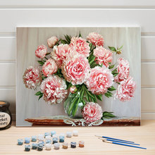 DIY Picture Drawing By Numbers Flower Acrylic Paint Still Life Canvas Oil Paintings Set For Living Room Wall Arts Crafts Color(China)