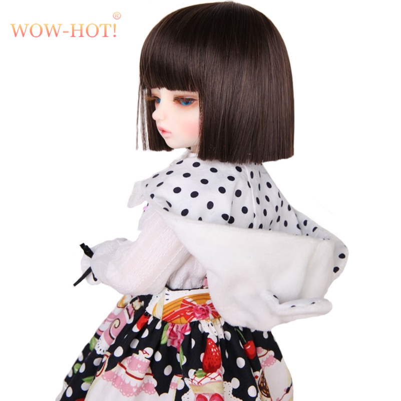 WOWHOT 1/4 Bjd SD Doll Wigs for Dolls High Temperature Wires Short Straight Bangs Fashion Wig 1/6 1/3 for Dolls Accessories Toy fashion black hair extension fur wig 1 3 1 4 1 6 bjd wigs long wig for diy dollfie