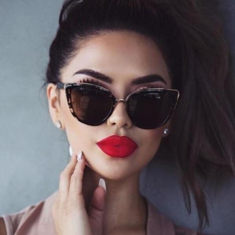 CURTAIN Sexy Ladies Cat Eye Sunglasses Women Brand Designer New Fashion Cute Eyewear Vintage Sun Glasses Female Oculos De Sol