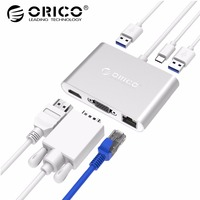 ORICO Aluminum 5GbpsType C to VGA HDMI RJ45 Type C Type A Converter Support PD Multi Function Laptop Station for MACbook PC
