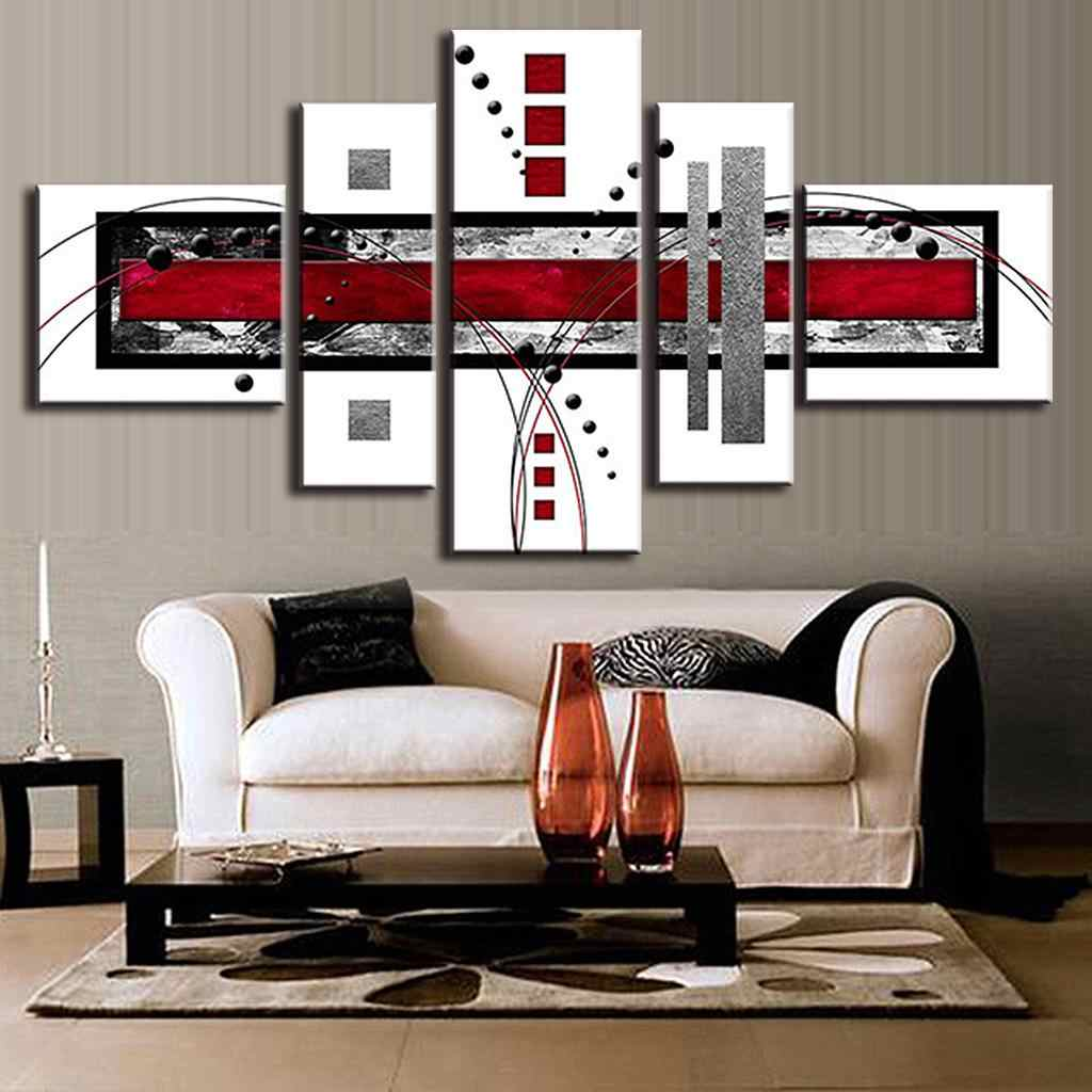 5 Combined Abstract Lines Wall picture Poster Red White Black Canvas Print Wall Art Painting for Living Room Home Decor Unframed