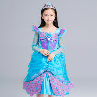 1PCS Children Girls Halloween Cosplay Dress Clothes Long Sleeve Little Mermaid Mesh Sunscreen Dresses Kid 10
