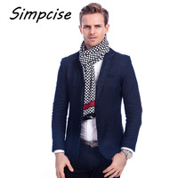 Simpcise Winter Knitted Scarf Man Hot Sale Unilateral Plaid Knit Scarves Men Charm Warm Scarf