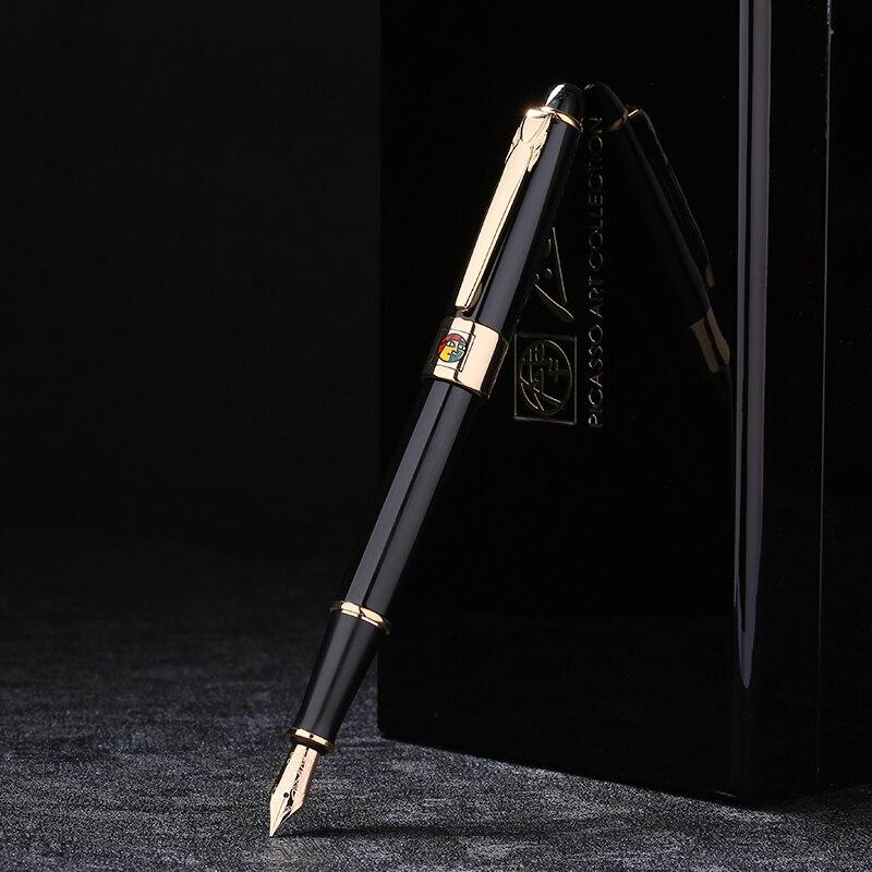 Пикассо 89 Мюнхен Джаз 14 К золото перьевая ручка тонкий наконечник благородный черный Цвет с оригинальной подарочной коробке для написание