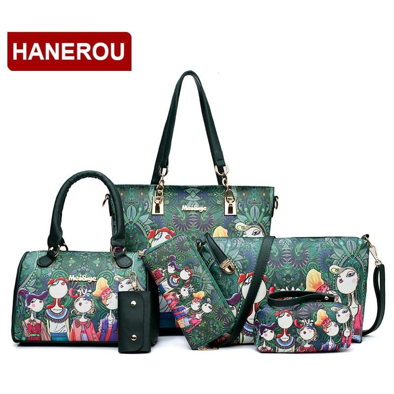 Nowy marka luksusowe Lady torebka 6 sztuk/zestaw torby kompozytowe zestaw w stylu Vintage kobieta Cartoon torebki z nadrukiem PU skóra torebki o dużej pojemności w Torebki na ramię od Bagaże i torby na  Grupa 1