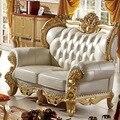 Современные античном стиле Европейский стиль твердой древесины золотой цвет резьбой мебель для гостиной кожаный диван