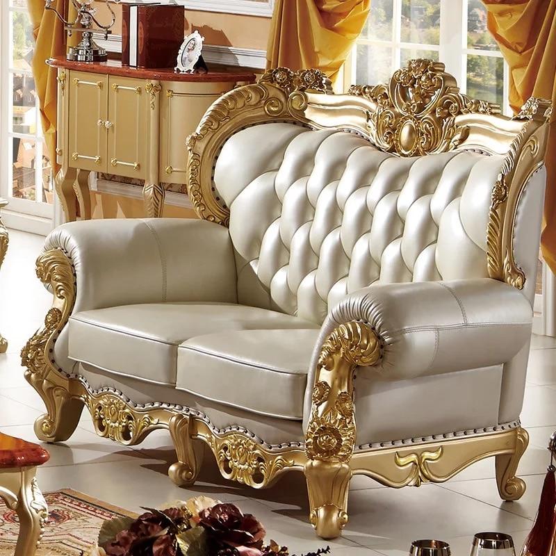 Modern Antique Design European Style Solid Wood Golden Color Carving Living Room Furniture Leather Sofa Set