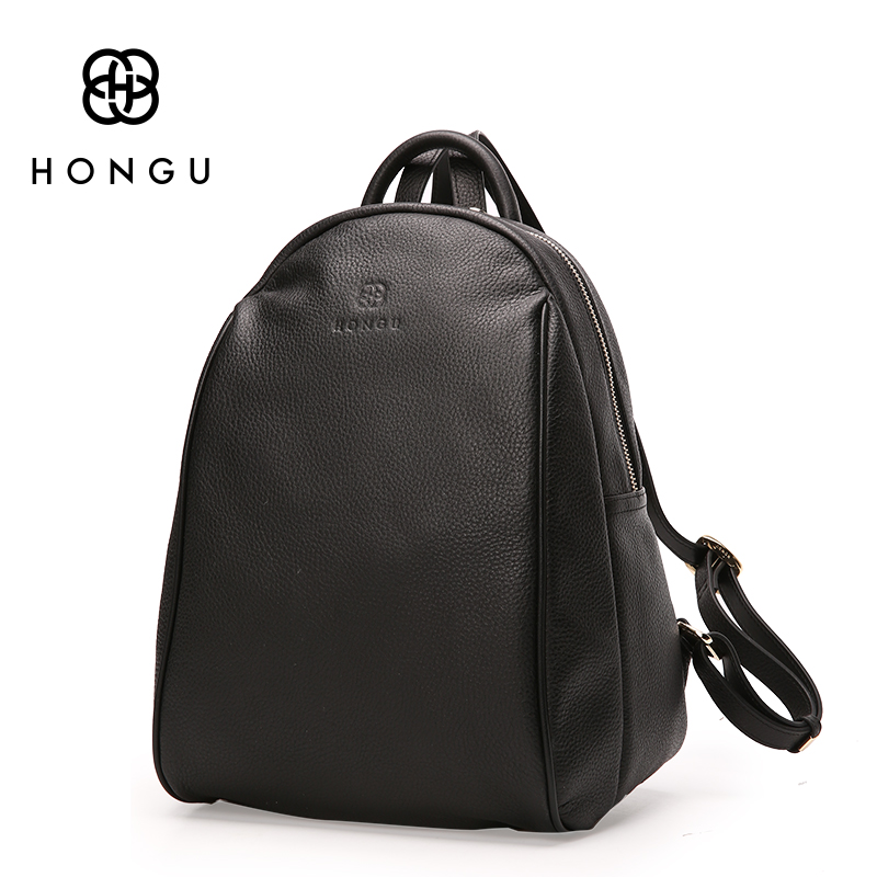 HONGU Fashion Ladies Crossbody Bag Women Backpacks Shoulder Bag Black Big Top Layer Cow Leather Tote
