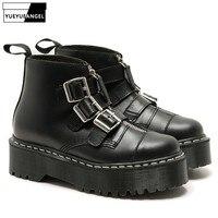 Винтаж Туфли с ремешком и пряжкой 100% натуральная кожа ботинки martin на платформе Для женщин Роскошные однотонные черные Панк круглый носок со