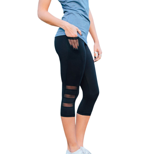 d084f66b8005b Women Mesh Capris Leggings With Pocket Sexy Workout Sportswer Outdoor Gym  Pants Black Plus Size High Waist Slim Trousers Jegging