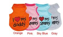 I Love Mommy Cute Cotton Dog Vest Comfortable Pupy Dogs Clothes For Teddy Yorkshire Terrier Free Shipping