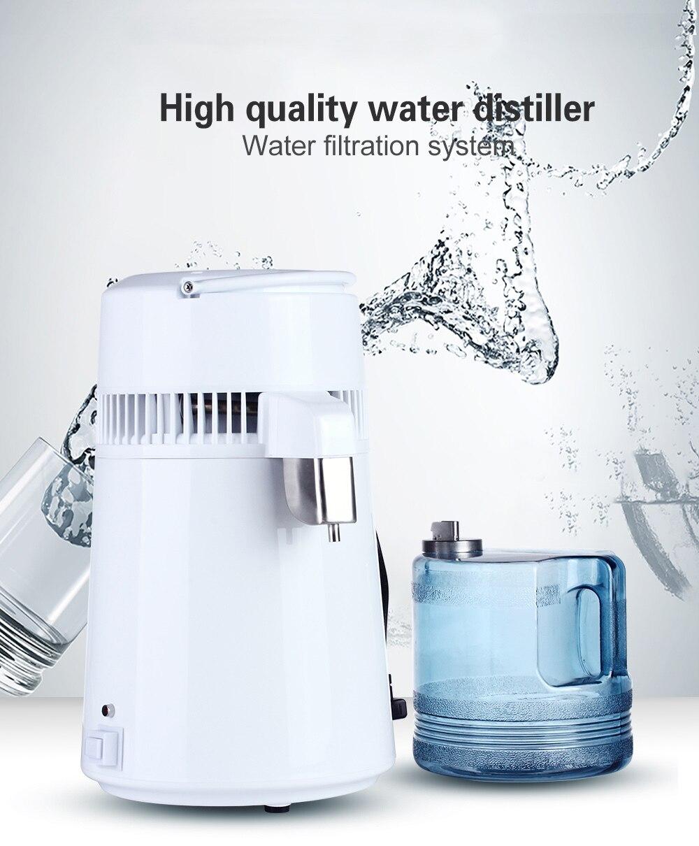 Gehäuse Verwenden 4L Wasser Distiller Destilliertem Wasser Maschine Destillation Purifier Edelstahl Wasser Filter Russische Anweisungen