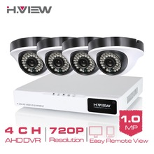 H.View 4CH CCTV System 4 PCS 720P IR Security Camera 4CH AHD CCTV DVR 1080P Video Output Dome Camera Kits iPhone Android Access