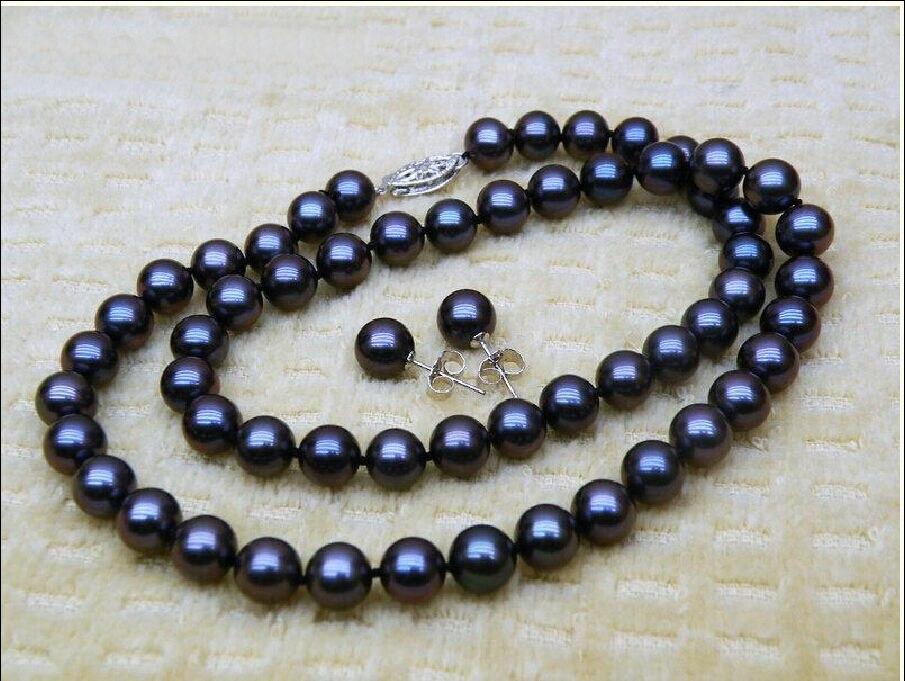 Xiuli 00633 10-11mm noir de TAHITI MER DU SUD Perle collier bracelet boucles d'oreilles set 18