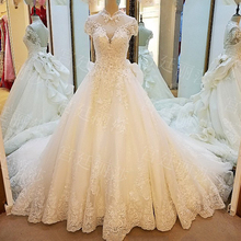do dower Luxury Vintage High Neck Wedding Dress Gown