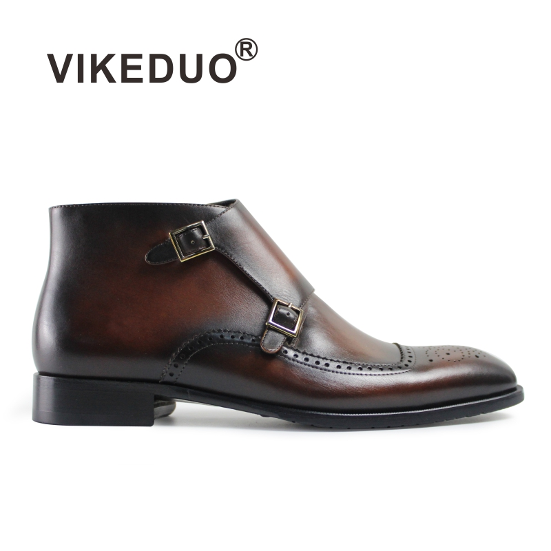 Vikeduo Special Offer Military Botas Hombre Boot Luxury Retro Fashion Chelsea Brown Fur Winter Ankle Genuine