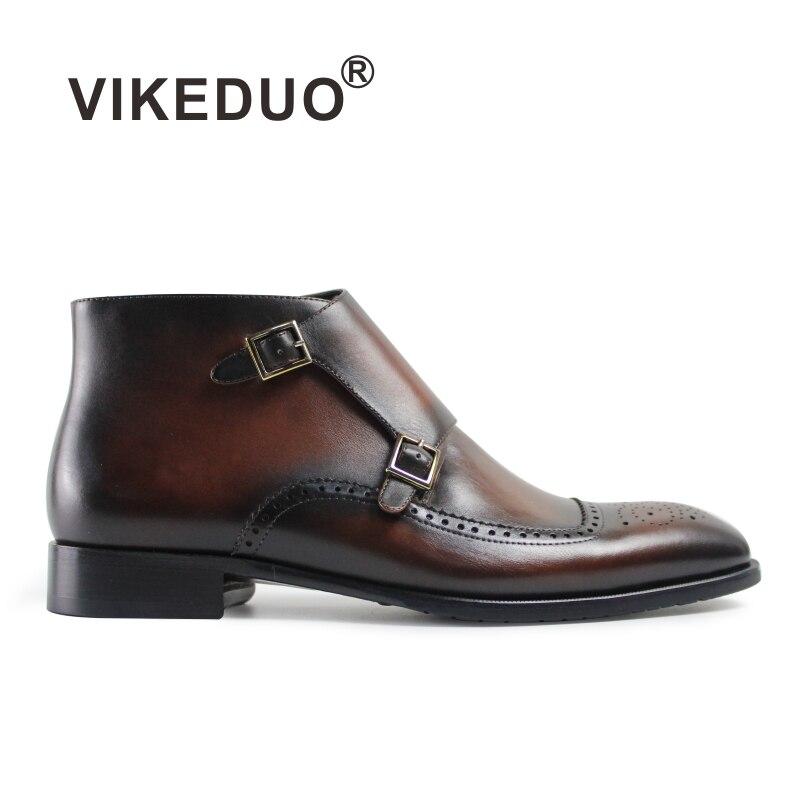 Vikeduo offre spéciale Botas militaires Hombre botte de luxe rétro mode Chelsea marron fourrure hiver cheville en cuir véritable hommes bottes