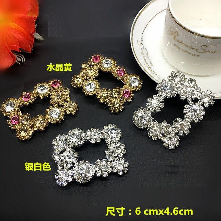 MüHsam 1 Paare/los Neue Mode High-end Beliebte Diamant Schuhe Schnalle Rechteckigen Schuhe Blume Schmuck Kristall Gelb Diamant Box