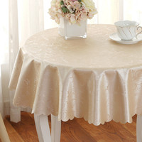 Round Tablecloth Top Brocade Jacquard Tablecloth Waterproof Table Cover Home Kitchen Decoration 160cm