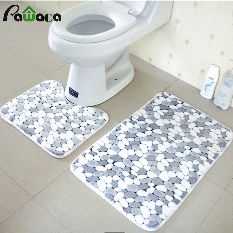Exceptional 2pcs Thicken Coral Velvet Bathroom Rugs Soft And Absorbent Non Slip Bath Mat,Stone  Pattern Non Slip Bath Mats Washroom Mat  In Bath Mats From Home U0026 Garden ...