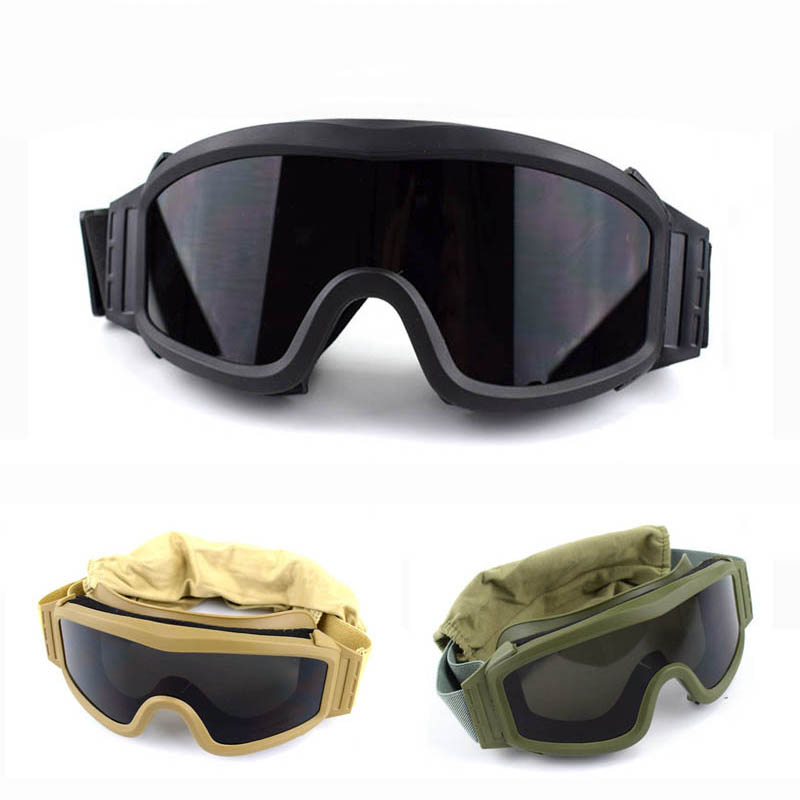 2018 Military Airsoft Tactical Goggles Safety Glasses Army Combat Goggles 3 Interchangeable Anti-Fog Windproof Tactical Goggles