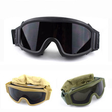 2019 Military Airsoft Tactical Goggles Safety Glasses Army Combat 3 Interchangeable Anti-Fog Windproof