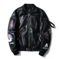 2018 Leather Jackets Embroidery Logo Jacket But One Of The Collar Of The Base So Outwear