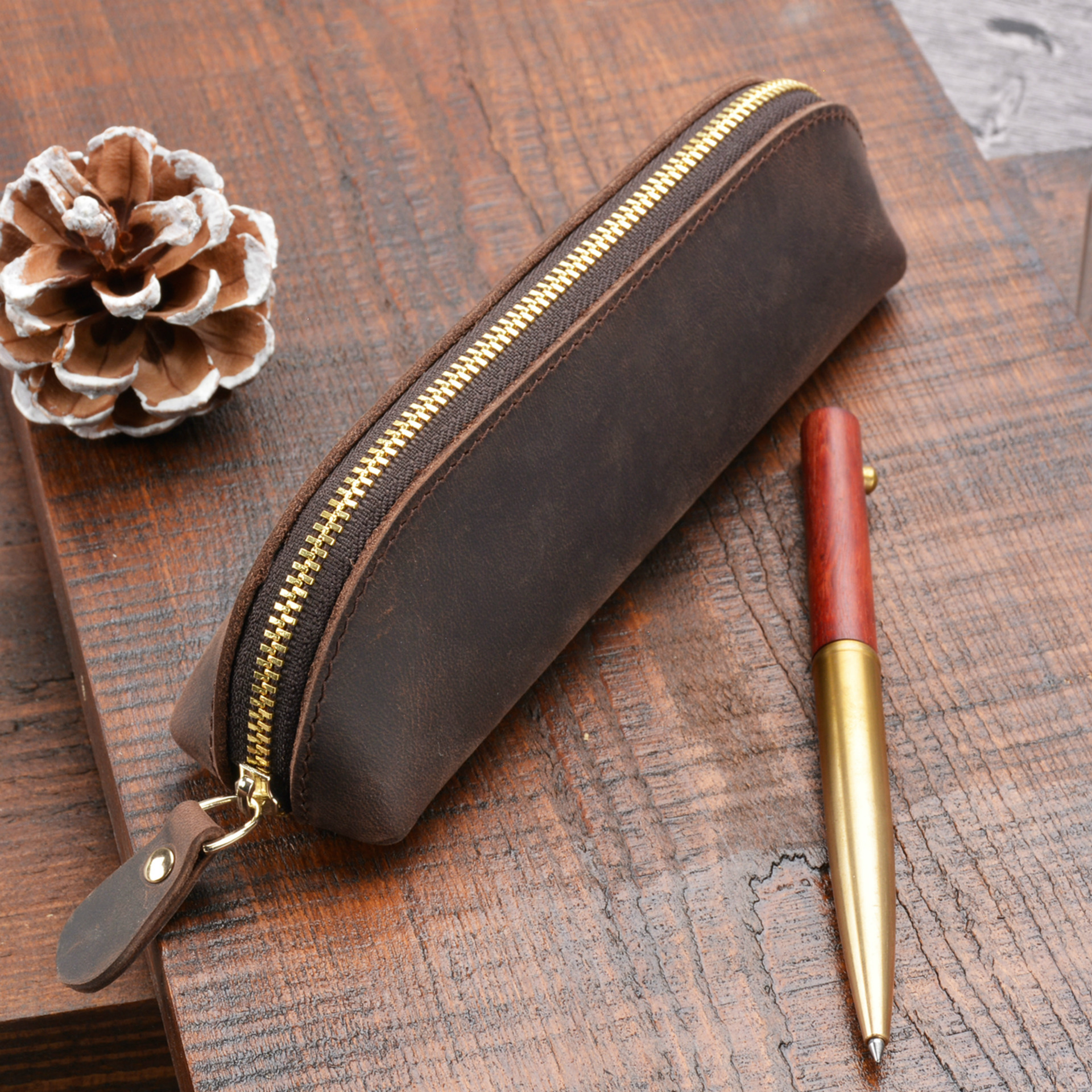 Cowhide Pencil Bag, Zipper New Leather Pen Pouch Office School High Quality Stationery Pencil Cases, Birthday GiftCowhide Pencil Bag, Zipper New Leather Pen Pouch Office School High Quality Stationery Pencil Cases, Birthday Gift