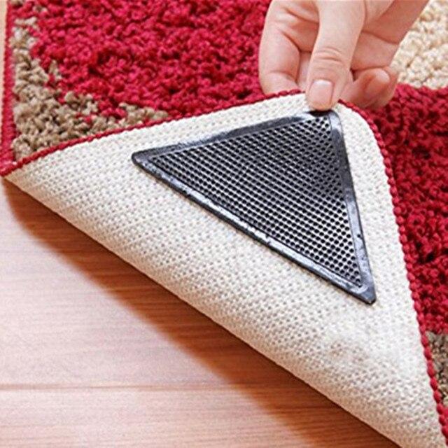 Alfombra de suelo para el hogar, 4 Uds., pinzas, autoadhesivas, antideslizantes, Tri pegatinas, reutilizables, lavables, de silicona, almohadilla para Perfume