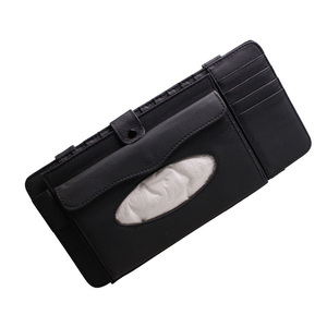 Image 3 - 3 w 1 skórzany futerał na CD samochodowy odtwarzacz dvd osłona przeciwsłoneczna z organizerem do przechowywania tkanek na okulary Folder wizytownik na karty biznesowe