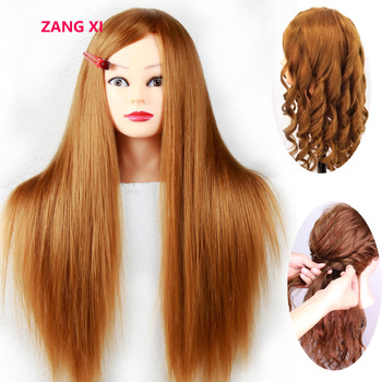 Good Quality Mannequin Head With 80% Golden Human Hair Professional Practise Hairstyle Manikin Head Hairdressing Training Head 100% real hair mannequin head professional manikin head with human hair hairdressing mannequins hair styling head