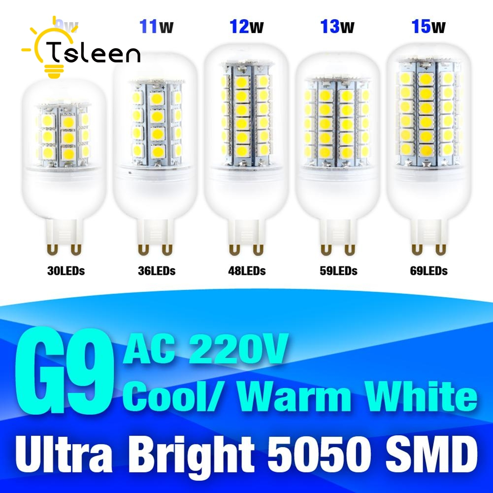 TSLEEN G9 Led Lamp 220V 9W 11W 12W 13W 15W Led Corn Light 220V 5050 SMD LED Corn Bulb Chandelier For Home Lighting LED Bulb