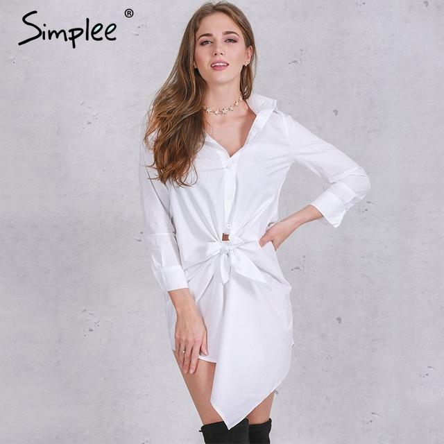 Simplee apparel breve camisa branca dress mulheres sexy bow manga comprida verão dress 2016 nova casual hetero vestidos pretos do escritório
