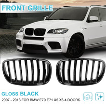 UXCELL 2PCS Front Gloss Black Dual Slat Bumper Kidney Grille Grill For BMW E70 X5 E71 X6 2007 2008 2009 2010 2011 2012 2013