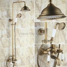 Antique Brass Wall Mounted Rain Shower Faucet Set with Handheld Shower Head / Bathroom Ceramic Handles Bathtub Mixer Taps Wrs160
