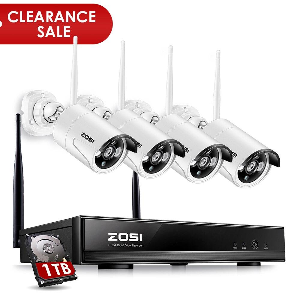 ZOSI Kit NVR 4P 1080p HDMI Wi-Fi 1.3MP Infrarouge Résistant aux Intempéries