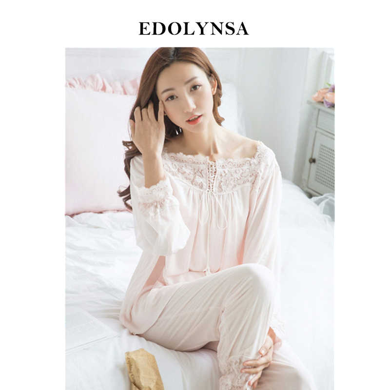 8ff2b754229 Detail Feedback Questions about Lace Pajama Sets 2019 Long Sleeve Sleepwear  Sexy Women Comfortable Home Wear Vintage Indoor Clothing Pyjamas For Women   H324 ...