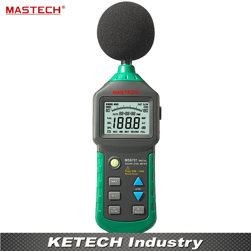 Autoranging Digital Sound Level Meter Tester 30~130dB RS232 MASTECH MS6701 mastech ms6701 autoranging digital sound level meter decibel tester 30db to 130db with rs232 interface and software with the box