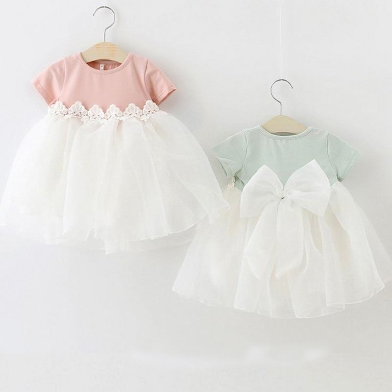 Us 24 40 Offprinzessin Baby Mädchen Kleider Kleidung Party Geburtstag Kleid Spitze Floral Taufe Vestido Infantil Bogen Tüll Hochzeit Neugeborenen