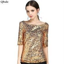 Qbale Fashion Club Wear Elegant Ladies Sequin Tops Plus Size 2017 Spring Summer Slash Neck Half Sleeve t-shirts women t shirts